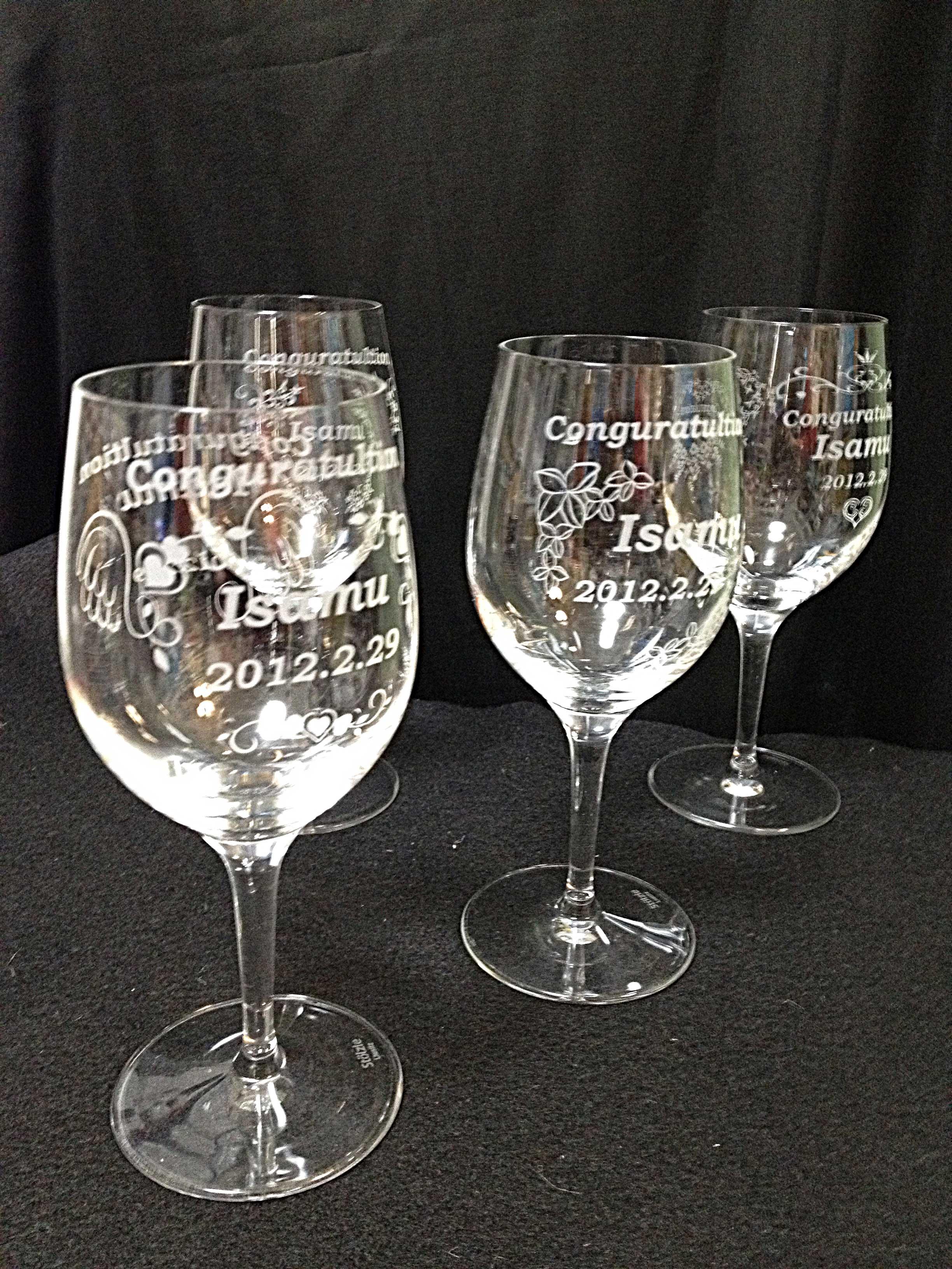 エッチングワイングラス画像