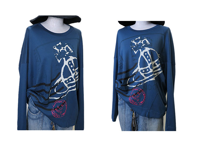 【Vivienne Westwood RED LABEL】レディース 02(M~L)サイズ☆ジャストシーズン到来☆彡ゆったりブルーグレーロンTに大胆なオーブプリント☆彡20%OFF