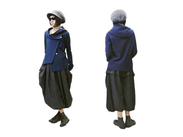 【oblique】レディース 00.1(S~M、M~L)サイズ☆アシンメトリーフードジャケット☆ストレッチスウエット40%OFF