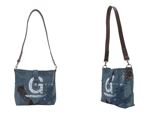 【GCL】メンズ&レディース◇本革ループ付最新ボディーバッグ登場グリーン系ジルボーデニムをカスタマイズです☆彡