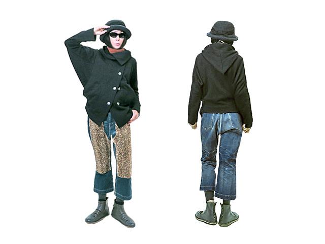 【Vivienne Westwood Anglomania】レディース 38(S~L)サイズ☆アシンメトリージャケット☆三角フードが可愛い軽くて暖かブラックウエット素材☆15%off☆彡