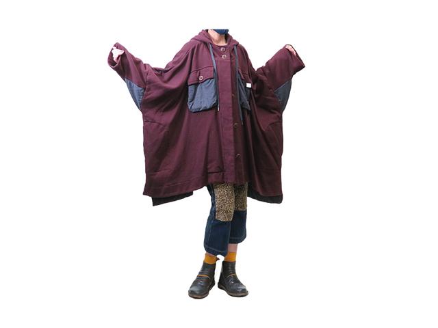 【Vivienne Westwood RED LABEL】レディース&メンズ 00(フリー)サイズ☆秋一のフード付きポンチョコート☆裏起毛スゥェット素材☆ゆる~く着る☆彡18%OFF
