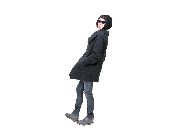 【Vivienne Westwood Anglomania】レディース 38(S~L)サイズ☆アシンメトリロングジャケット☆軽くて暖かブラックウエット素材☆楽です!とても☆彡