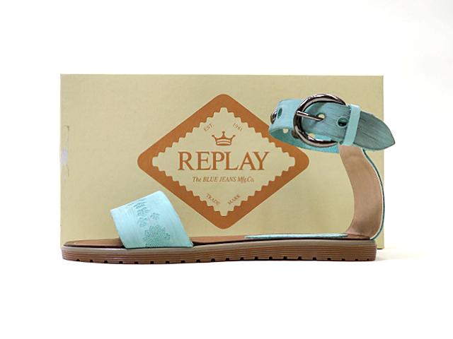 【REPLAY】レディース35(23cm)サイズ◇イタリア製夏のアンクルストラップレザーサンダル☆彡滑らないゴム底ソール ビンテージ風レザー加工☆彡40%OFF