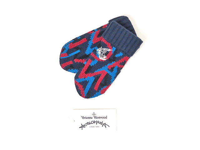 【ヴィヴィアン ウエストウッド 】レディース◇00(ONE)サイズ◇冬の織り柄ロゴ入りミトングローブ☆彡30%OFF