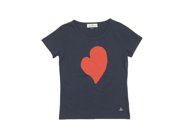 【ヴィヴィアン ウエストウッド】レディ-ス◇Mサイズ☆手書き風ハートマークが光る最高のオーガニックコットン使用☆クルーネックTシャツ彡10%OFF