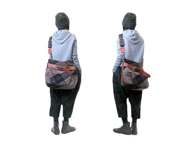 【Vivienne Westwood】レディ-ス&メンズ◇ONEサイズ☆シックなウールチェックに型抜きレザーベルトがクール☆ネイビーxグレーチェック☆彡30%OFF