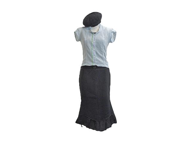 【ジルボー】レディース◇Mサイズ☆オールシーズン対応スエット膝丈 スカート 裾の紐でデザインにアクセント☆彡50%OFF♪