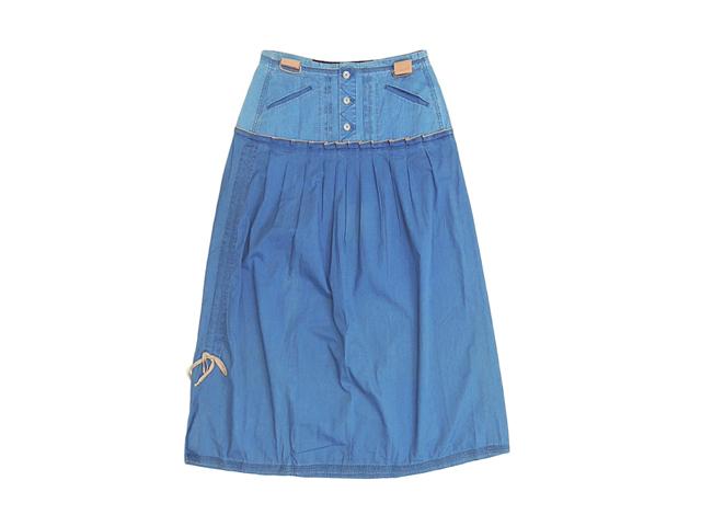 【ジルボー】レディース◇Mサイズ☆春一番の超軽量綿100シャンブレー素材のロング丈スカート登場☆彡50%OFF♪