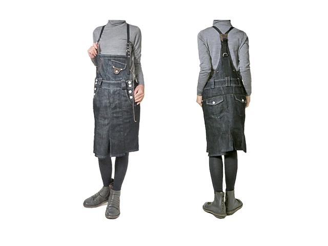 【ジルボー】レディース◇Mサイズ◇オシャレで可愛いサロペットスカート☆ポイントのレザーが効いてます☆彡50%OFF♪