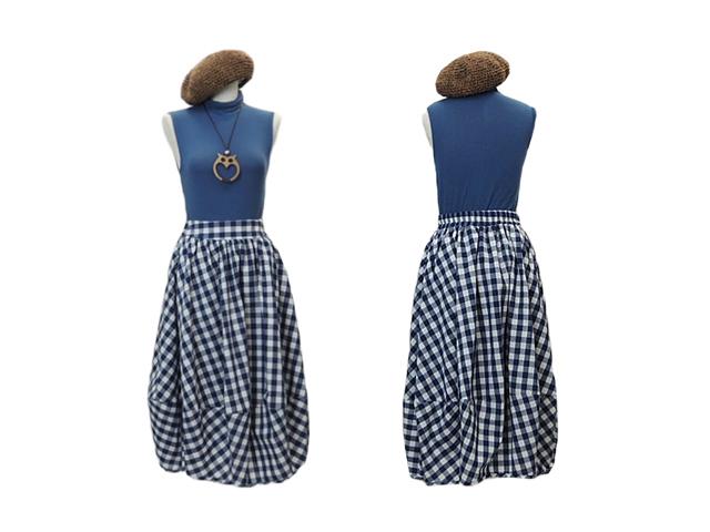 【FADselect】レディースM~Lサイズ☆夏のブルーギンガムチェック ロングバルーンスカート彡ふわふわで楽々♪30%OFF☆彡再入荷(7/9)