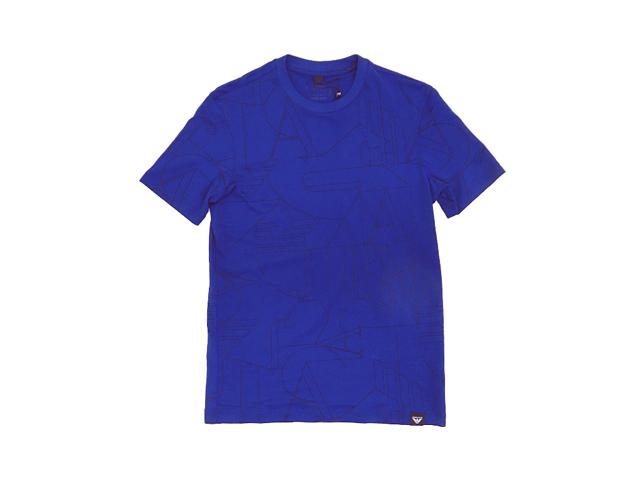 【ARMANI JENS】メンズXXS(日本サイズS)☆気品あるブルーTシャツに全面にA/Jアートプリンを配列30%OFF