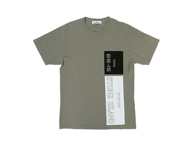 【STONE ISLAND】メンズ◇Lサイズ☆肌触り抜群のカーキTシャツに大胆なプリント☆彡サラサラ感がたまらない逸品☆彡20%OFF