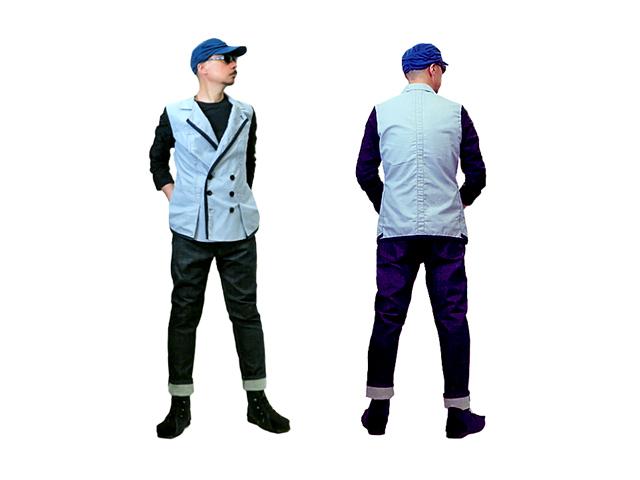 【ジルボー】メンズ Lサイズ☆COOL MAX仕様の春夏Wジャケット☆今使える爽やかピンストライプと濃紺迷彩袖☆60%OFFで登場
