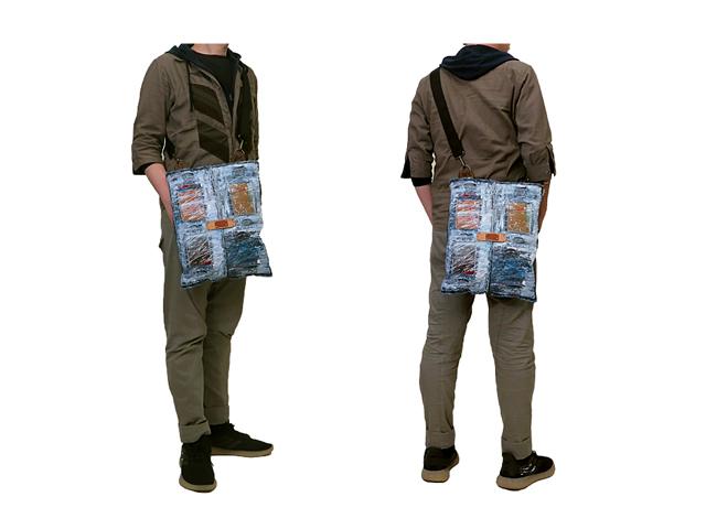 【GCL】メンズ&レディース◇アートペイント加工感満載の本革使用ワンショルダーボディーバッグブラック☆他にない物を提案します☆彡