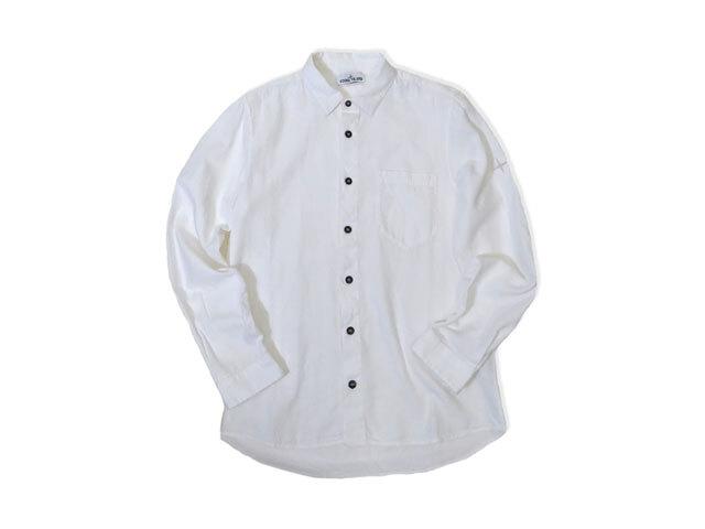 【STONE ISLAND】メンズ◇スッキリLサイズ☆オールシーズン使えるホワイトシャツ☆コットン100の着心地の良さが感じられる一着☆50%OFF