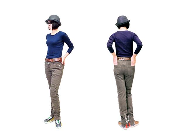 【ジルボー】レディス(25インチ)Sサイズ♪裾ボタン付ストレッチパンツ 柔らかさと伸びの良さが半端ない☆彡40%OFF