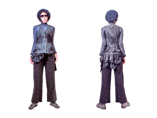【HIGH】レディース◇40(S~M)サイズ☆バージンウール ブラック2WAYパンツ☆気持ち良さに繊細で大胆なデザインが流石「HIGH」40%OFF