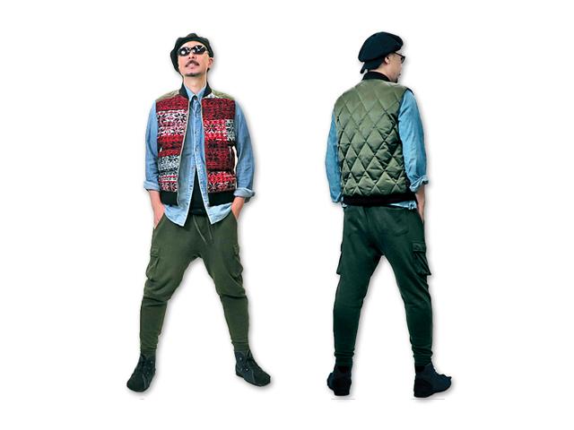 【DIESEL】メンズM(L)サイズ☆めっちゃ暖かい織柄ダウンベスト☆左右非対称な柄出し&バイカラーがポイント☆60%OFFで登場☆彡