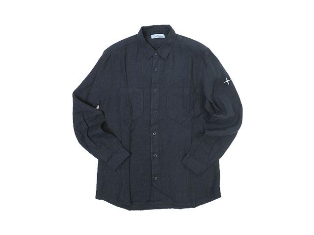 【STONE ISLAND】メンズ◇L(L~LL)サイズ☆後染め麻100%ブラックシャツ☆独特なカラーリングと着心地は流石「STONE」☆彡20%OFF