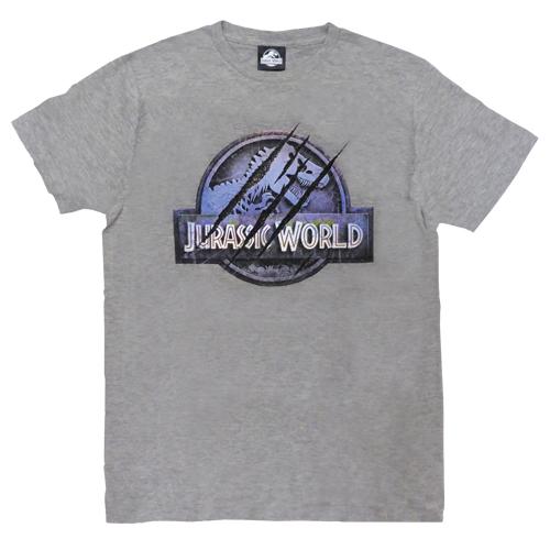 「ジュラシック・ワールド」Tシャツ ヘザーグレーLサイズ