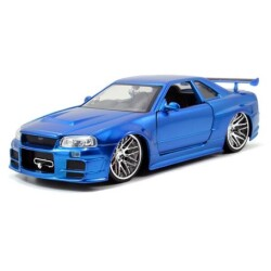 JADATOYS 1:24ワイルドスピードダイキャストカー BRIAN'S NISSAN SKYLINE GT-R R34 BLUE
