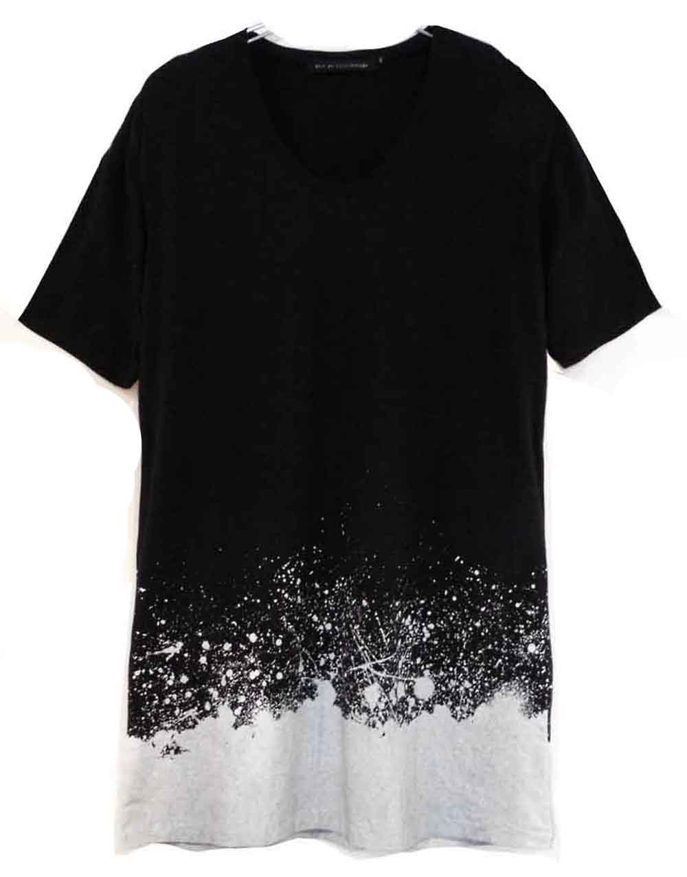 Cotton U-neck long T-shirt