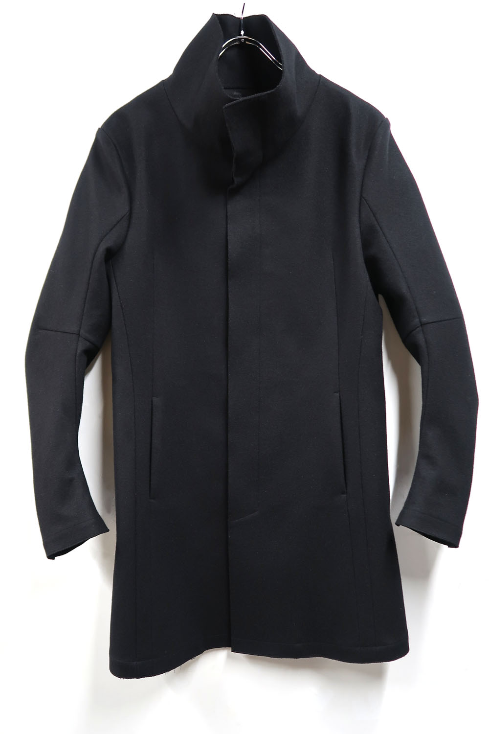 Wool,Polyester Stand-up Collar Coat