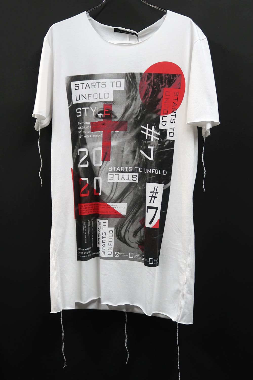 Cotton Cut-off Round-neck Big T-shirt<Signals>