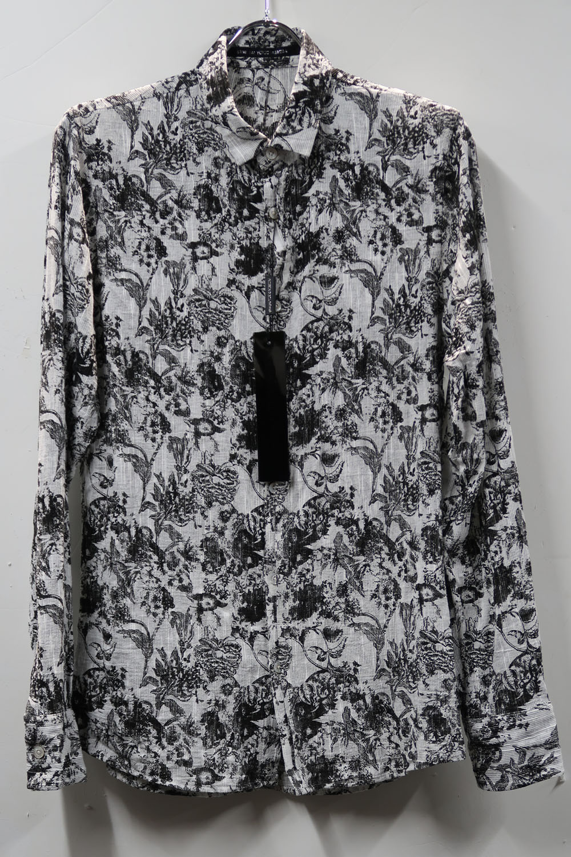 Cotton,Linen Dobby Flower Print Shirt