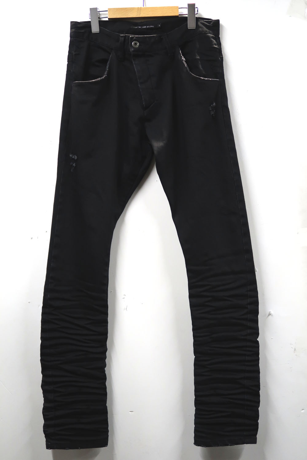 Cotton Solid-pleated Stretch Denim Pants