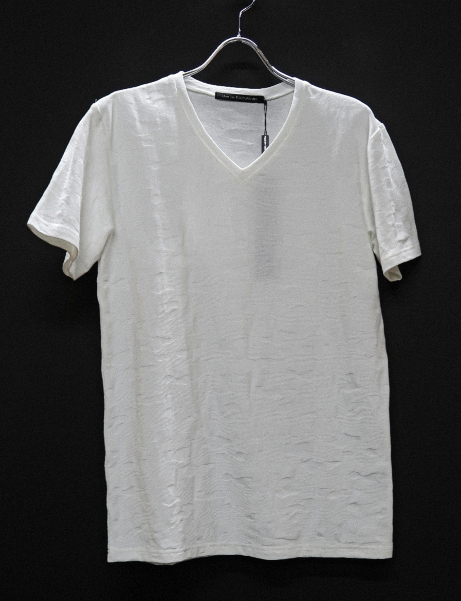 Cotton Jacquard V-neck T-shirt<Camouflage> *2color
