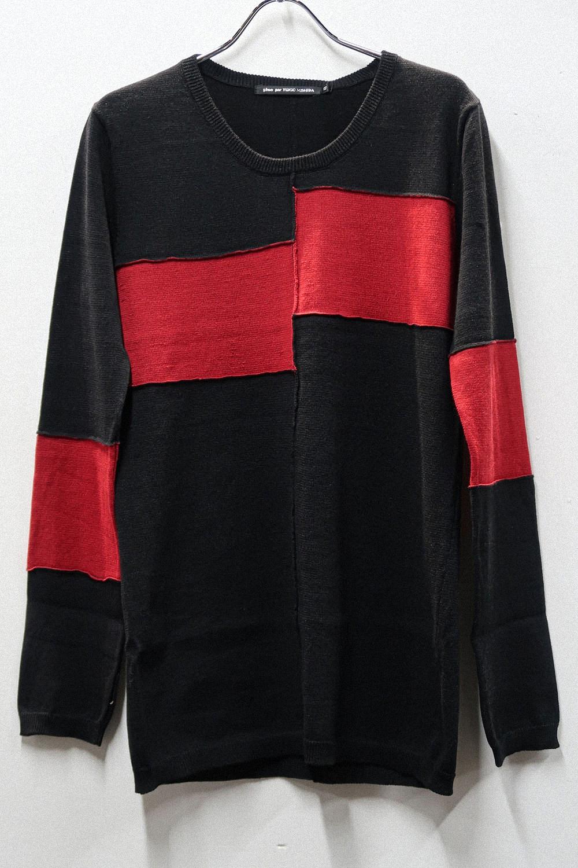 Ramie,Cotton Asymmetry Color Scheme Pullover Knit *2color