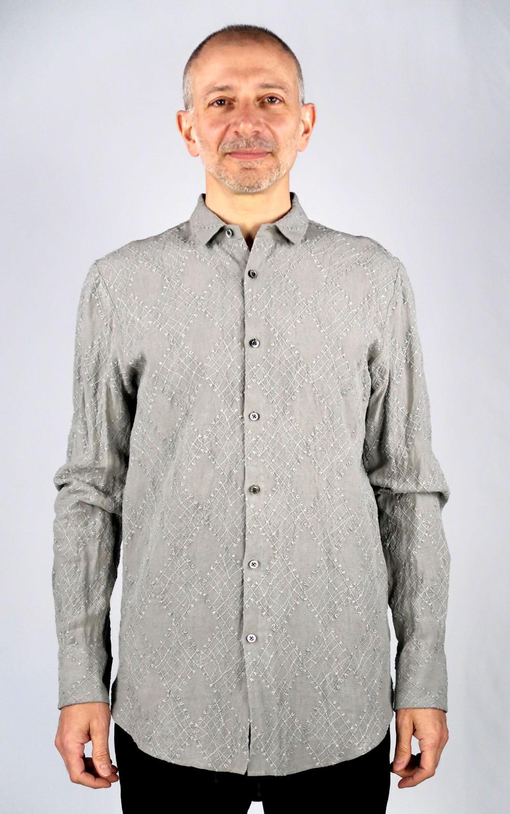 Linen Argyll Embroidery Shirt<C# Gray>