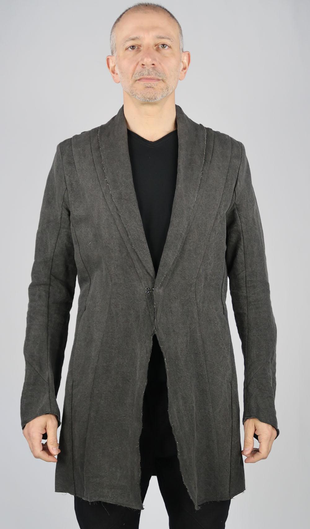 Linen,Washi Long Cardigan Jacket<C# Charcoal>