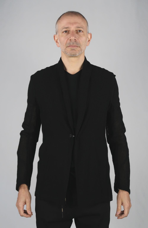 Rayon,Linen Leno Cloth Cardigan Jacket<C# BK>