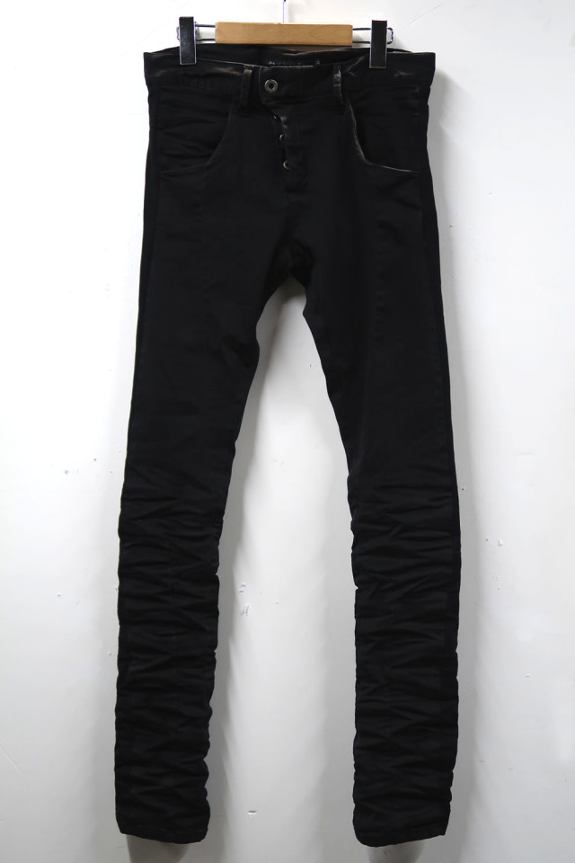 Solid-pleated Stretch Black Denim Pants