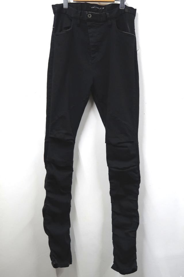 Pin-tuck Stretch Black Denim Pants