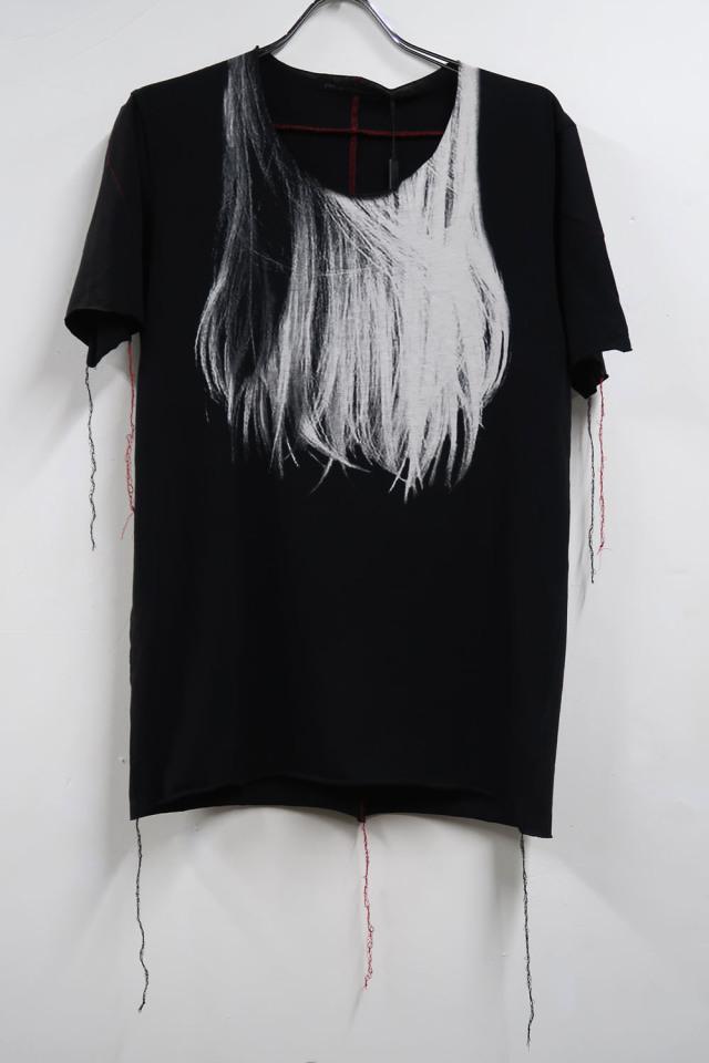 Cotton Cut-off Round-neck T-shirt<Long hair>
