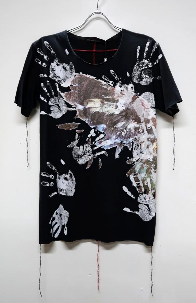 Cotton Cut-off Round-neck T-shirt<Hands> *2color