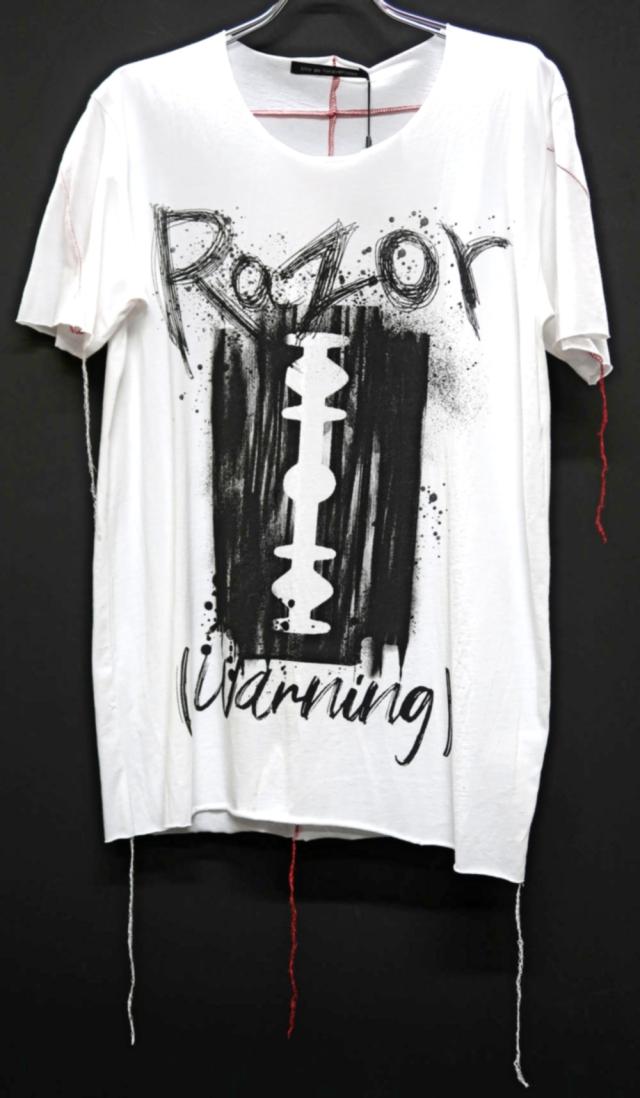 Cotton Cut-off Round-neck T-shirt<Razor>