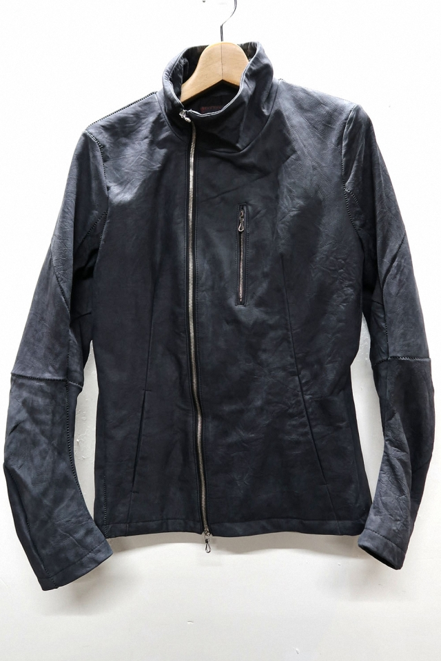 Crinkle Cow Leather Stand-upcollar Blouson #1