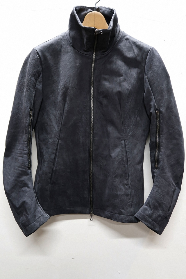 Crinkle Cow Leather Stand-upcollar Blouson #2