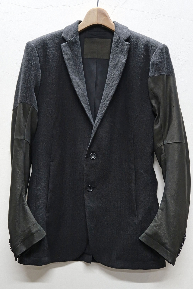 Twill Tailored Jacket~Pig Suede Sleeves~