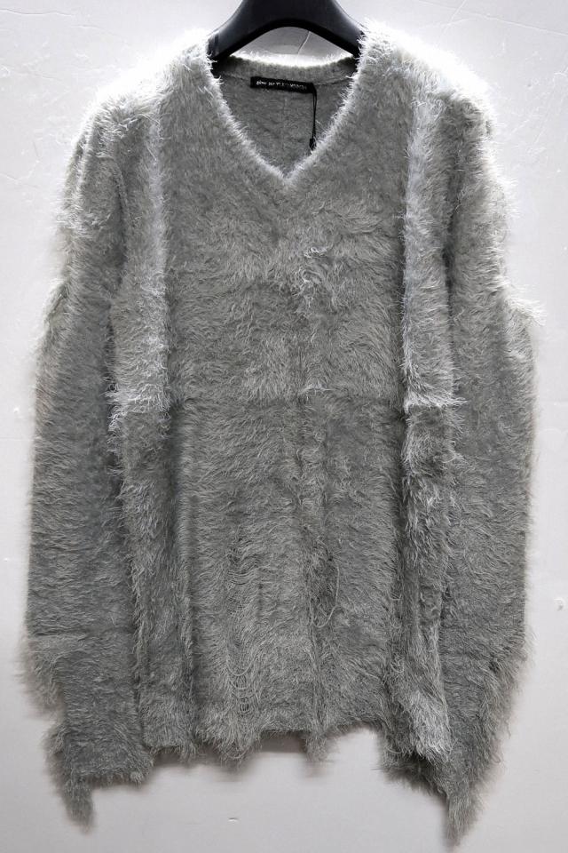 Fancy-yarn Vneck Pullover Knit *2color