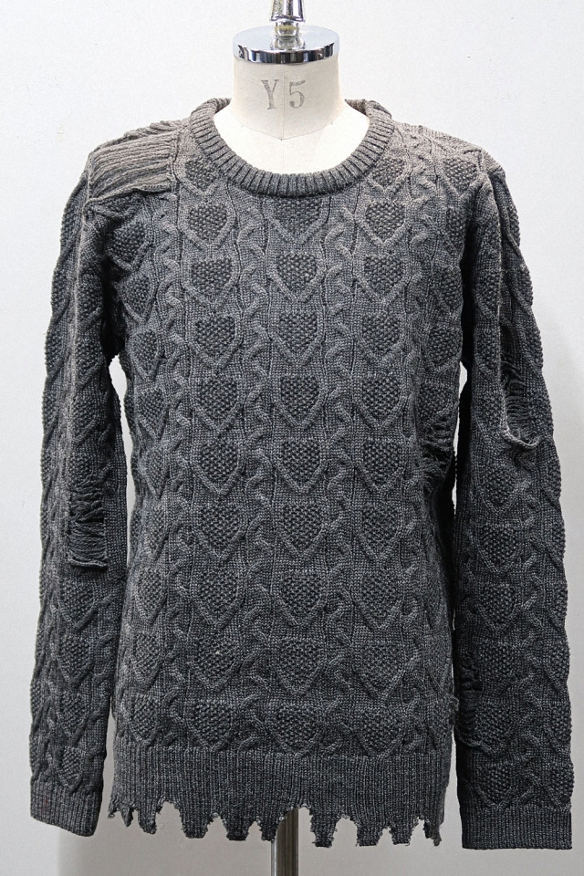 Cable-tying Torn Pullover Knit *2color