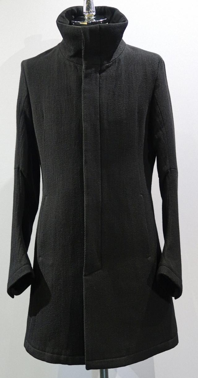Wool & Cotton Kersey Stand-upcollar Coat