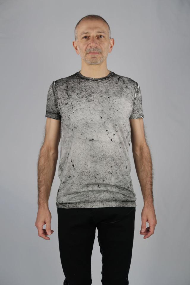 Cotton,Rayon Round-binder neck T-shirt<Ash to Ash>