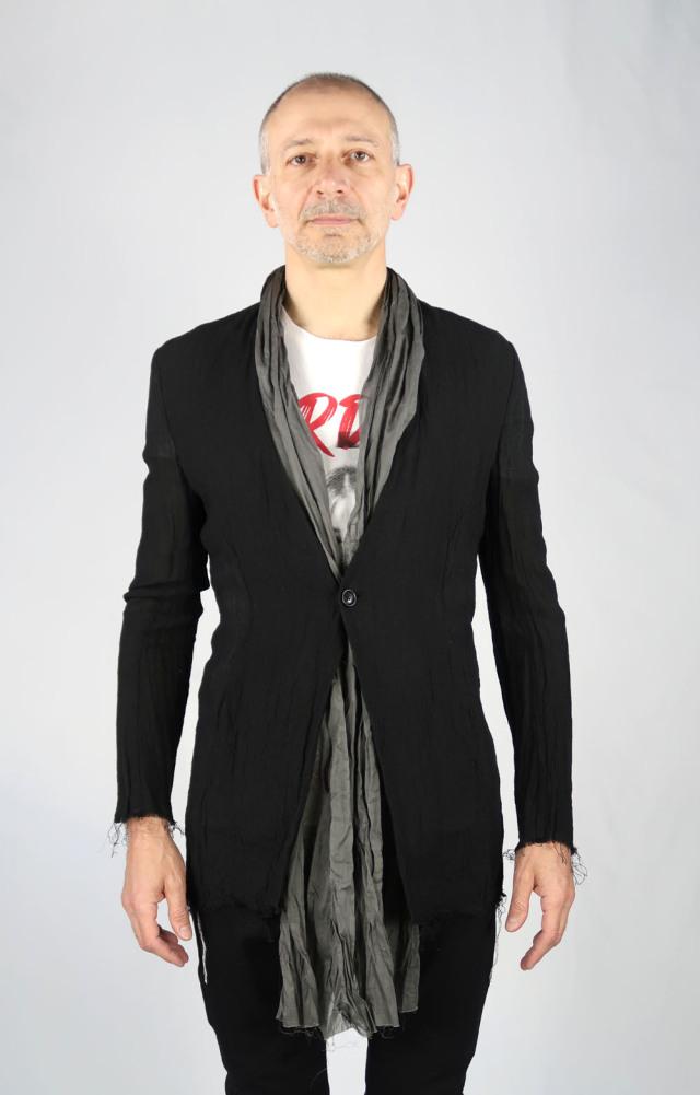 Linen Leno Cloth No-collar Jacket