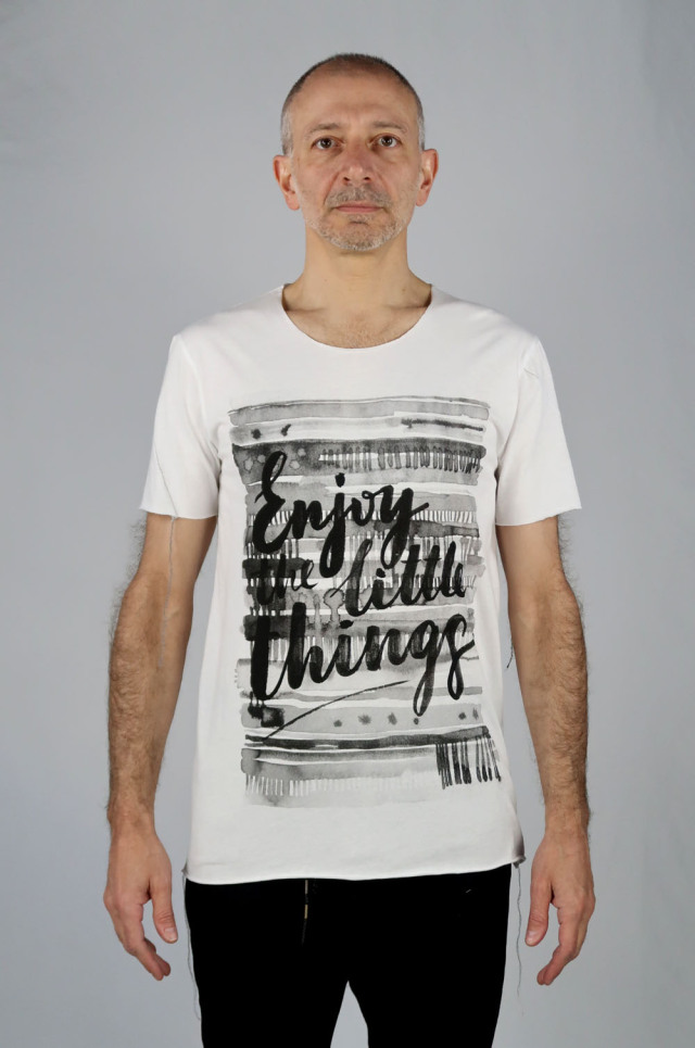 Cotton Cut-off Round-neck T-shirt<Enjoying><C#WH>